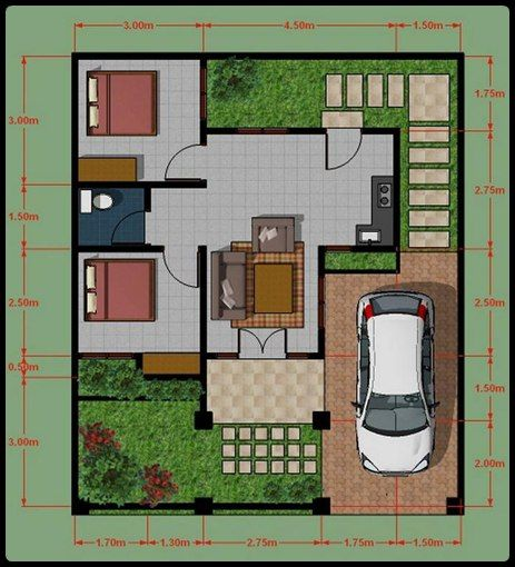 desain 3d rumah type 45 design plan section structure