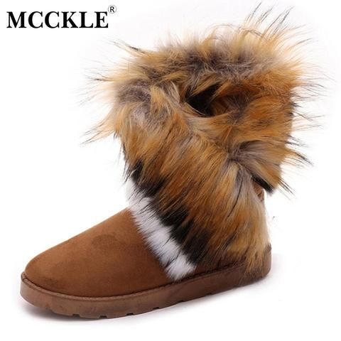43caec012 MCCKLE Ladies Faux Fur Warm Flat Shoes Tassels Edging Footwear Suede Women  Snow Boots Sewing Slip-On Mid Calf Winter Boots
