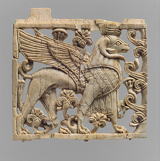 Openwork plaque with ram-headed sphinx Neo-Assyrian,ca 9th-8th cent.BC Mesopotamia-Nimrud ivory Metropolitan