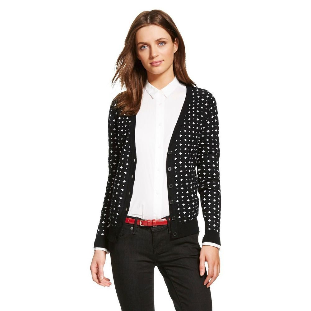 NEW Merona Women's Favorite Cardigan Sweater V-Neck Button Ebony ...