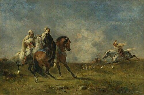 Algérie - Peintre Francais, Eugène Fromentin (1820-1876), huile sur toile , Titre: La chasse a la gazelle