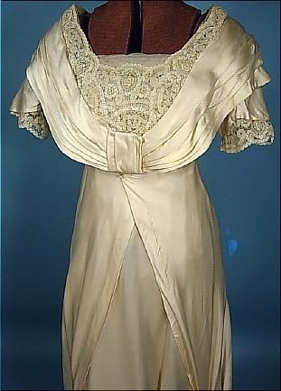 "c. 1912 ""Hauntingly"" Beautiful Ivory Silk Satin Trained Wedding Gown. Detail"