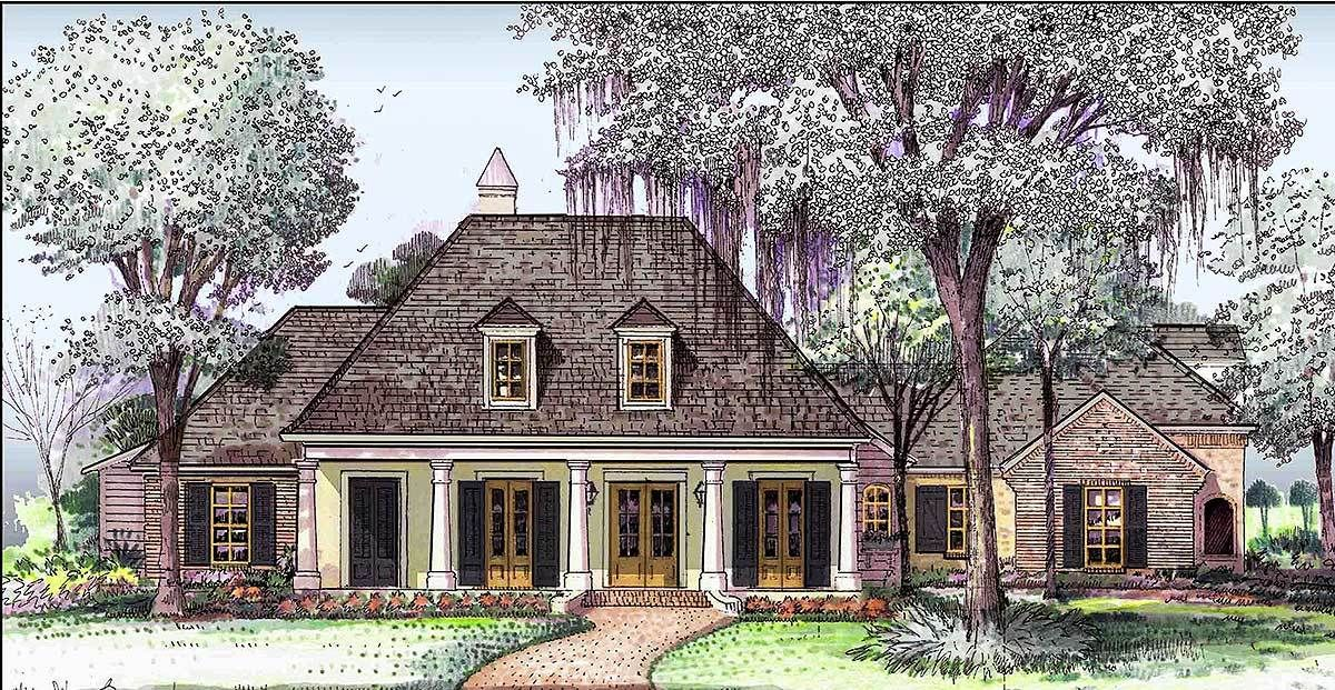 Plan 860014mcd Southern Traditional House Plan With Large Bonus Room French House Plans Acadian House Plans French Country House