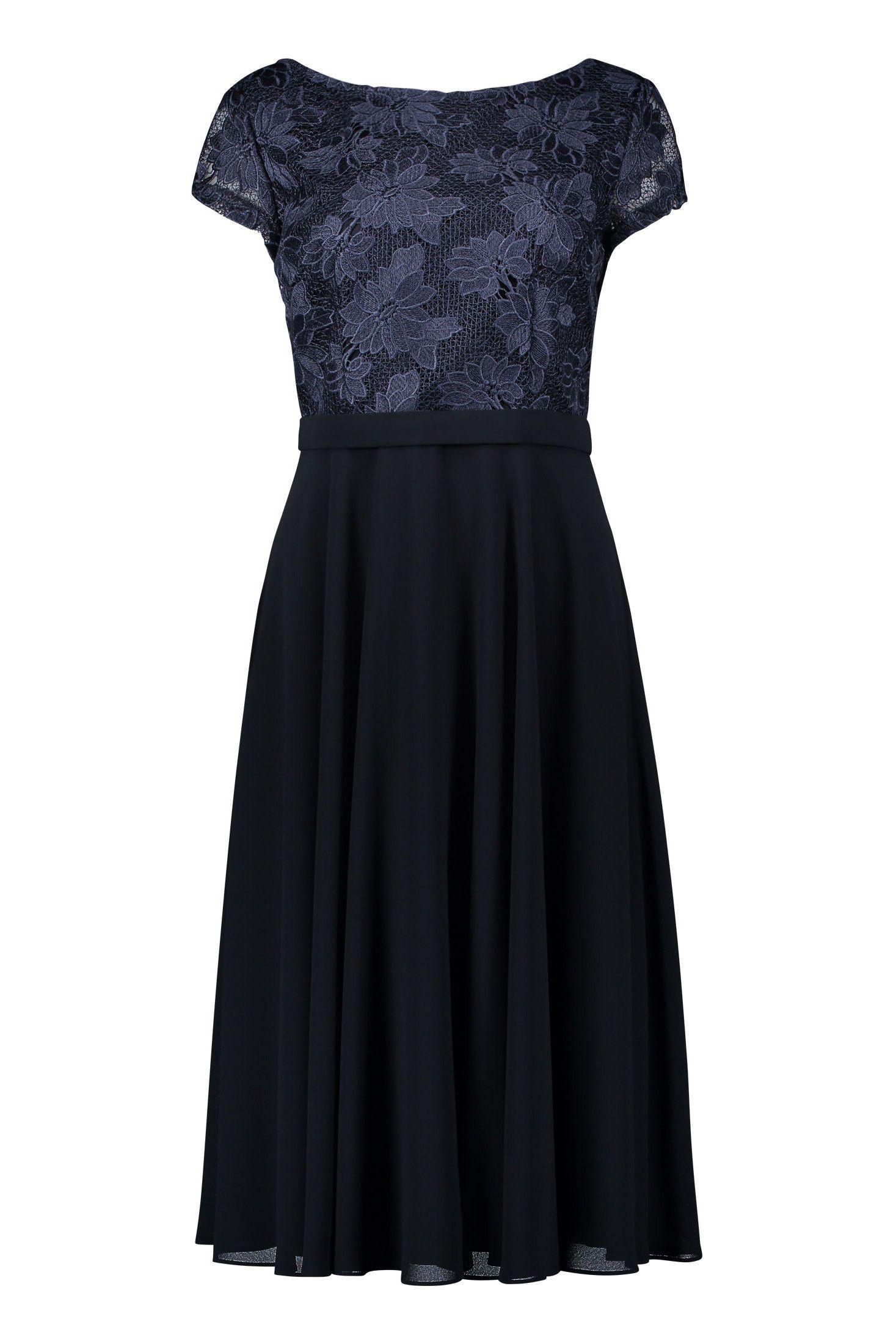 Kleid Blutenspitze Chiffon Nachtblau Vera Mont Mode Bosckens Kleider Tanzkleider Modestil