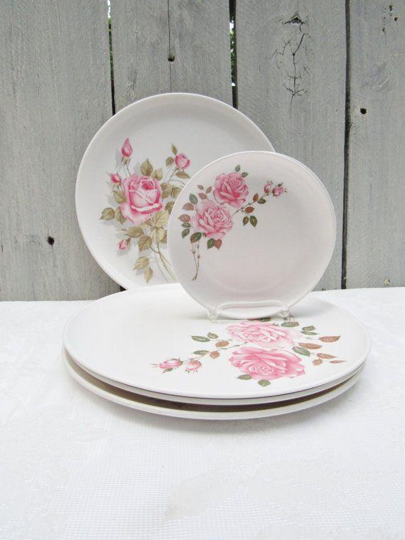 Rose Melamine Plates Melamine rose 1960s by OliviaRoseVintageCo & Rose Melamine Plates Melamine rose 1960s dinner plates plastic ...