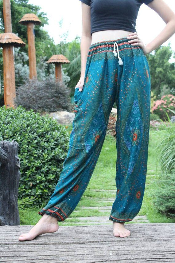 c0cf0572bb524 Green peacock pants Mens bohemian pants Cheap harem pants Hippie clothes  Cheap yoga pants Yoga capri