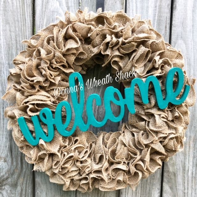Burlap Ruffle Wreath on a 16 Inch Wire Frame with a Wooden Welcome ...