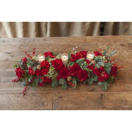 Centro de mesa navide o alargado en tonos rojos xmas - Centros florales navidenos ...