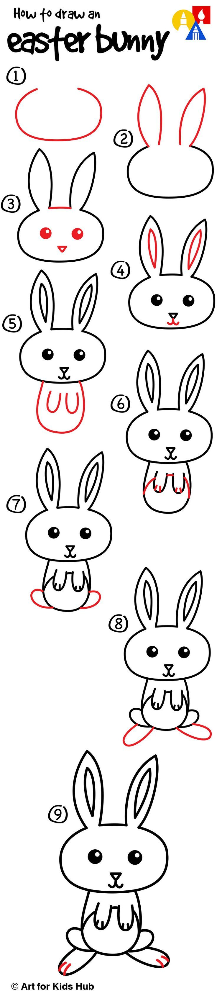 How To Draw A Cartoon Easter Bunny Art For Kids Hub Zeichnen
