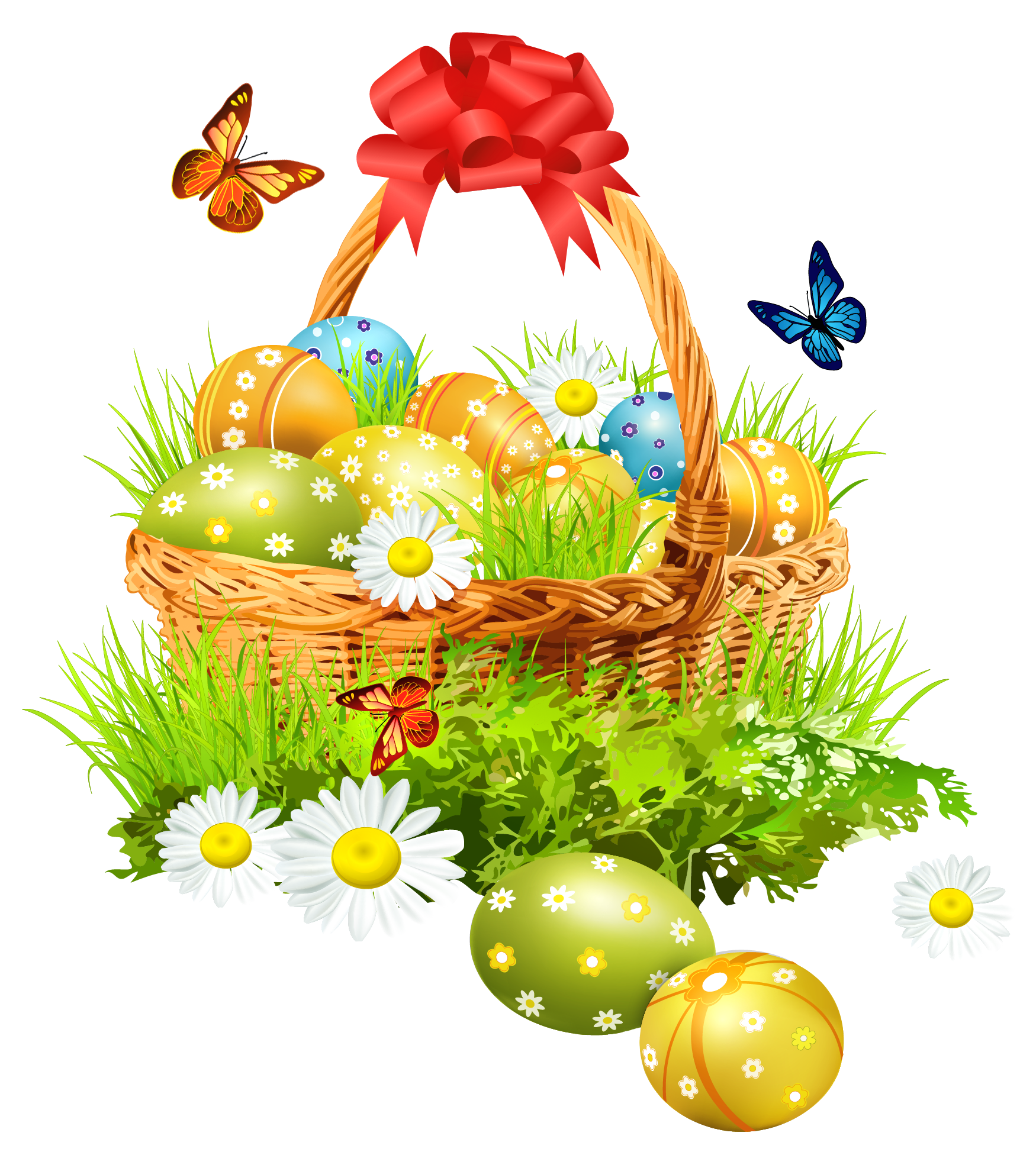 Easter basket with eggsand butterflies png clipart picture - Ostern wallpaper ...