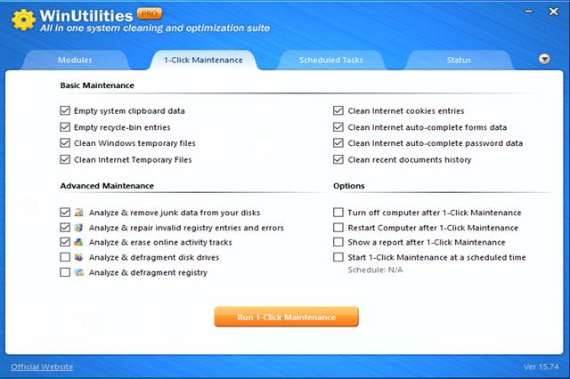 تحميل برنامج تنظيف وصيانة جهاز الكمبيوتر وتحسين أداء وفعالية النظام Winutilities Free مجانا Optimization Internet Cookies Window Cleaner