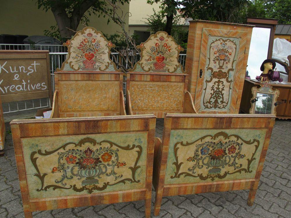 Altes Bett Doppelbett 2 Betten Bauernmalerei Herz Vintage Shabby
