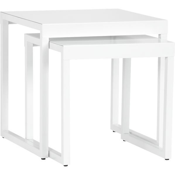 Set Of 2 White Nesting Tables In Sale Furniture   Crate And Barrel   On Sale