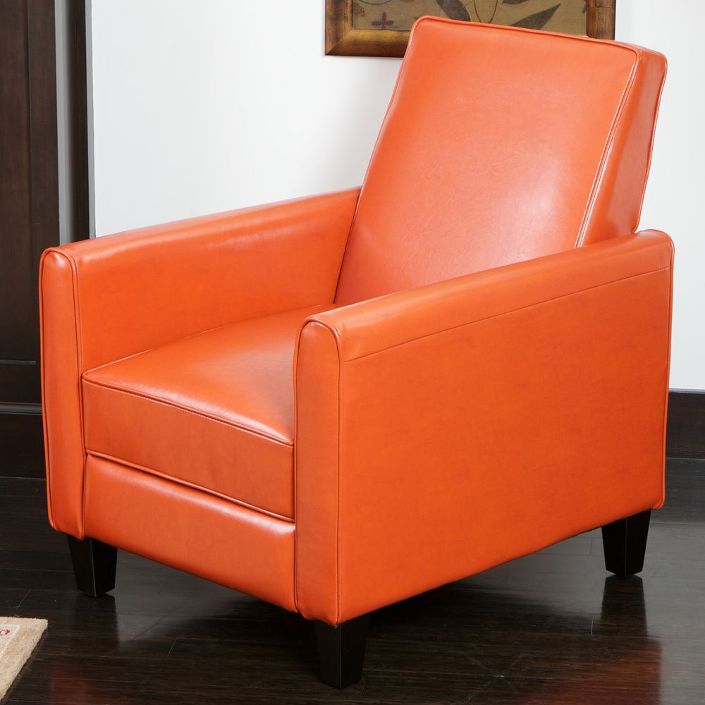 Darvis Orange Bonded Leather Recliner Club Chair By Christopher Knight Home  By Christopher Knight Home