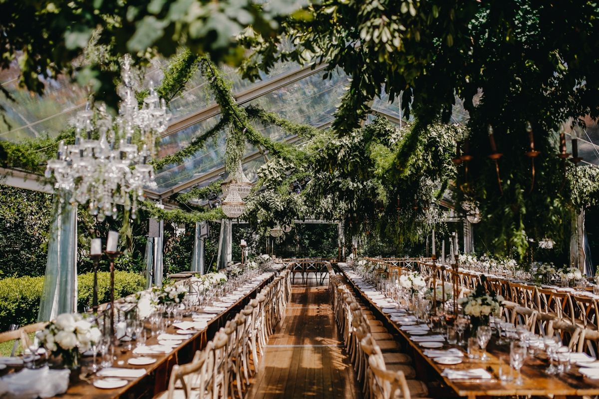 Garden wedding reception decor  Luxurious outdoor tent wedding  Dom and Sunnyus Sydney Wedding