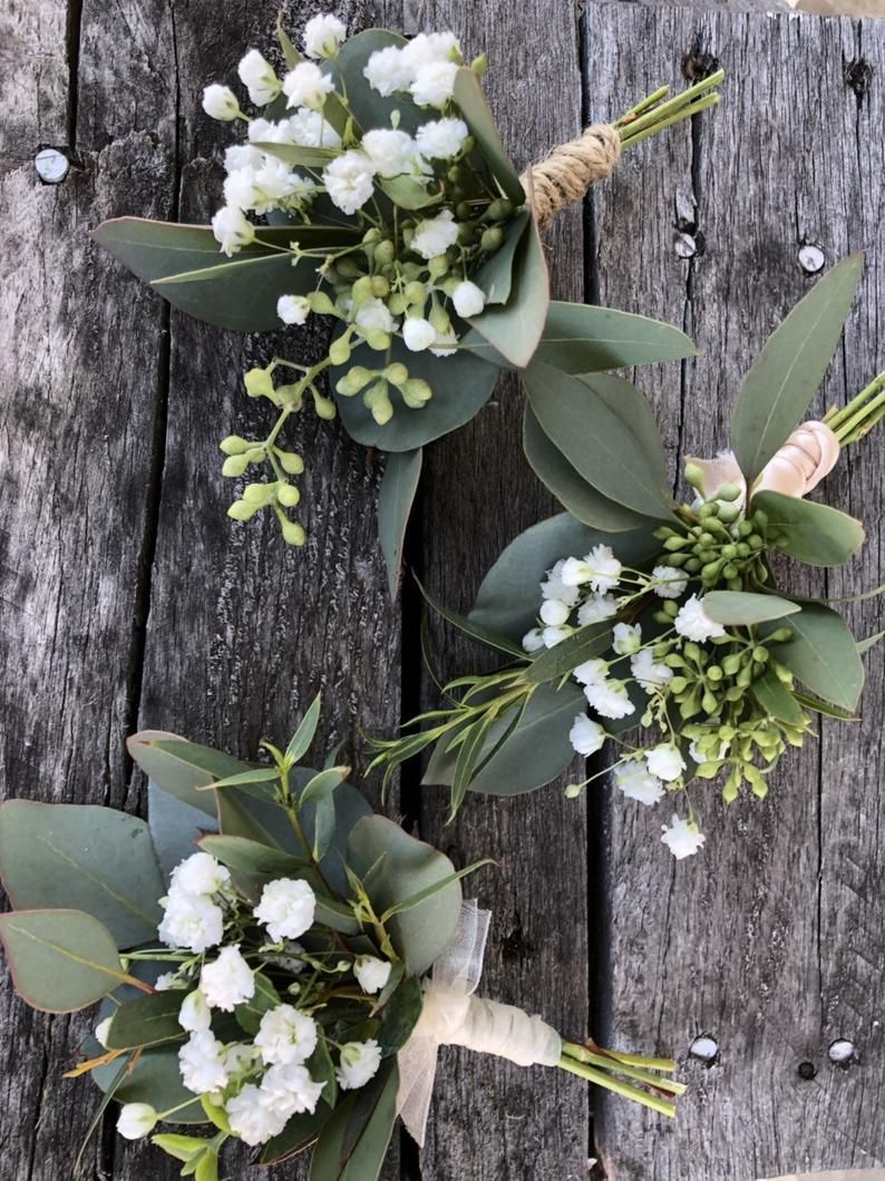 Fresh greenery and baby's breath Boutineere, wedding boutineer, country wedding, fresh eucalyptus, diy wedding, barn wedding, groom, seeded