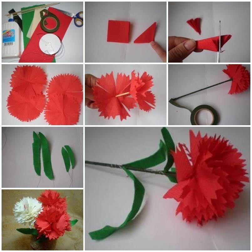 Diy Crepe Paper Carnation Paper Flowers Diy Tissue Paper Flowers Paper Flower Tutorial