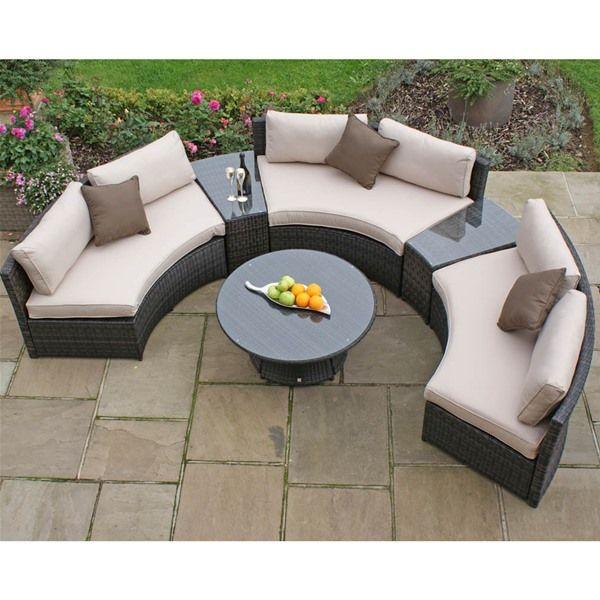 Maze Rattan Half Moon Curved Garden Sofa Set Internet Gardener Tuinsets House Layout