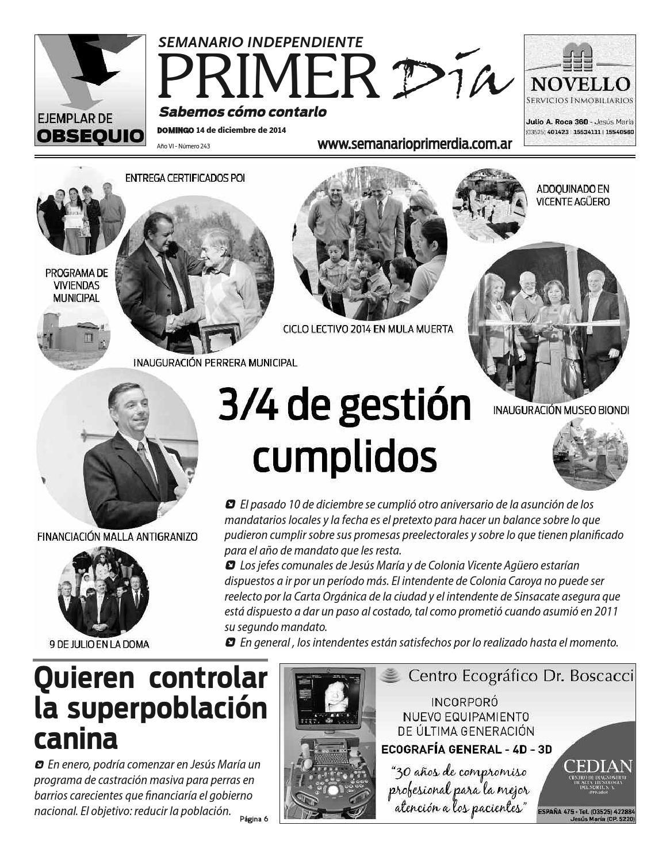 Semanario Primer Dia Nº 243  Edicion del 14 de diciembre de 2014
