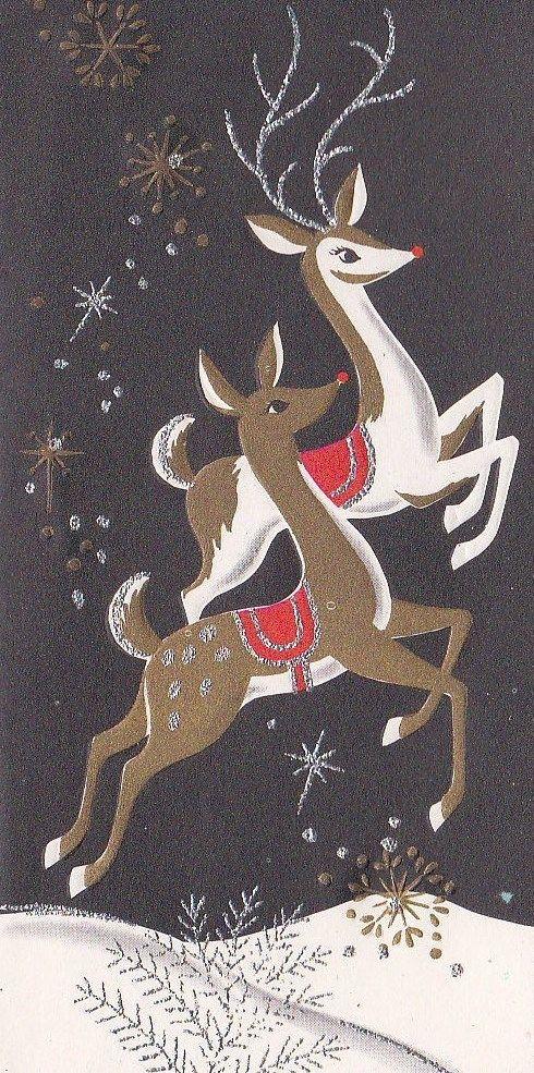 Vintage Reindeer Christmas Card | Vintage/current Christmas love ...