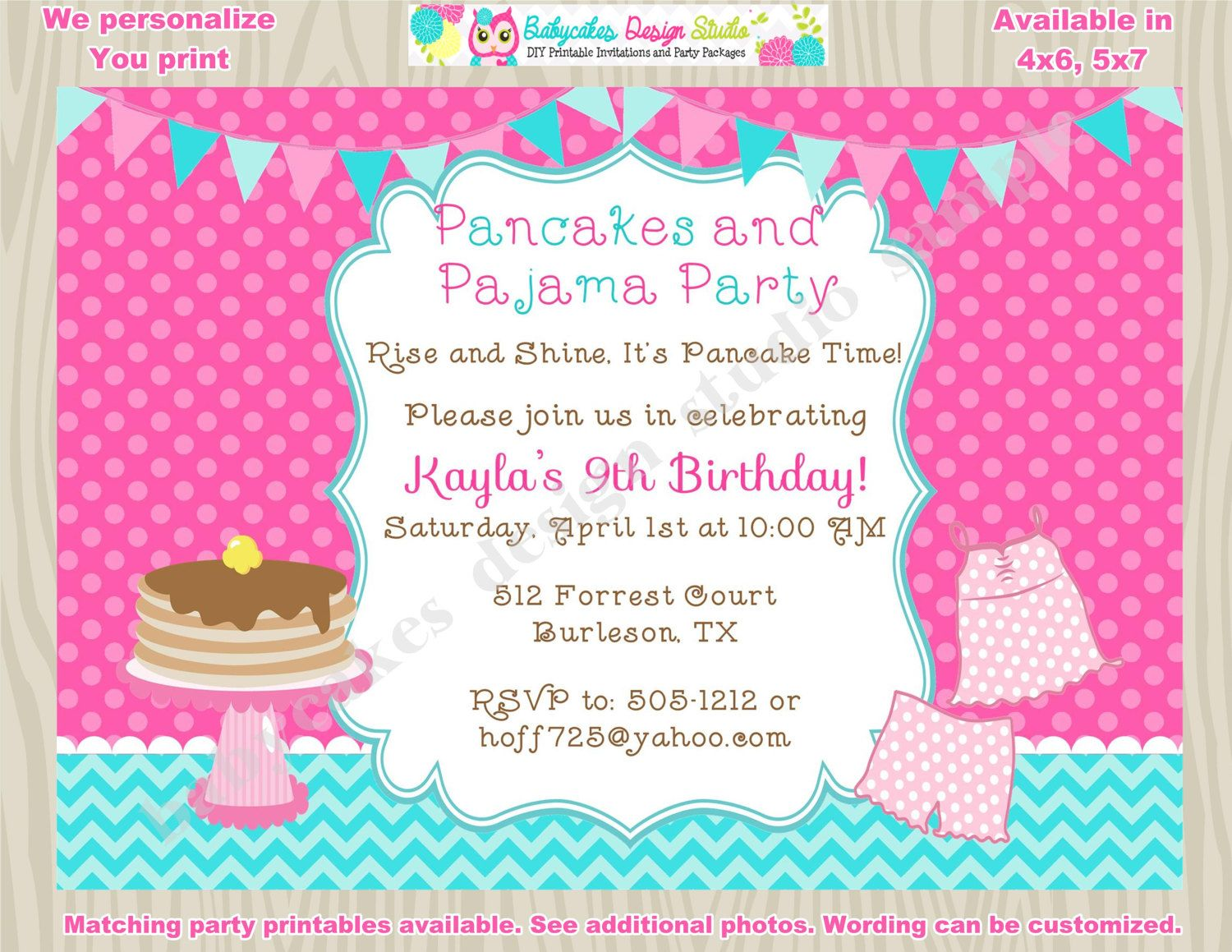 Pancakes and Pajamas Invitation Pancake and Pajama Party birthday ...