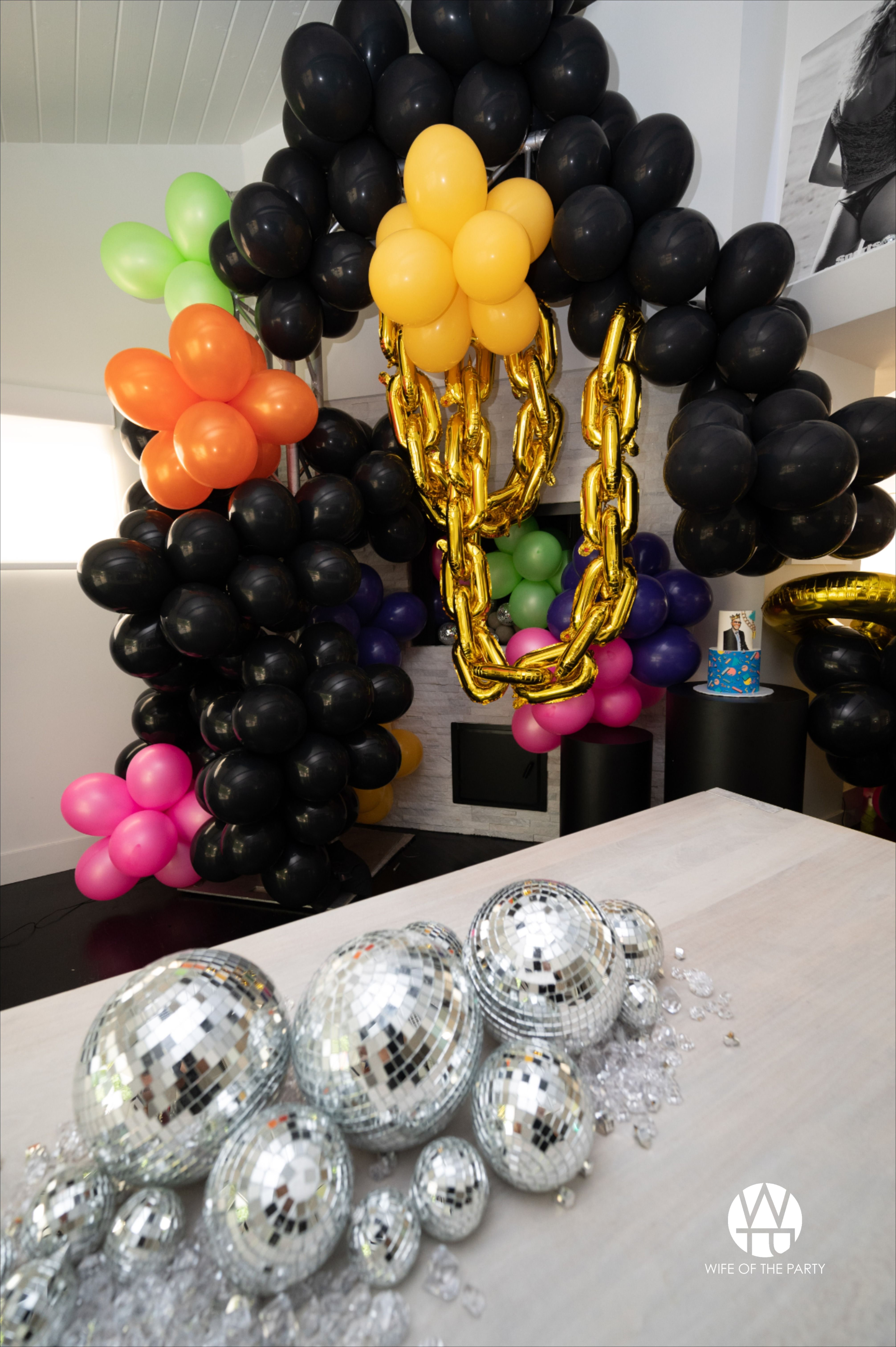 15's Themed Birthday Party Balloon And Disco Ball Installation in ...