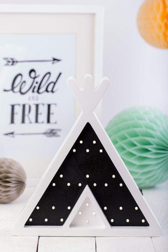 Teepee Tent Wigwam shape Kids Night Light - perfect for a kids room or wall…