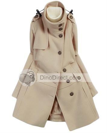 Cirjor™ Women Military Uniform Acrylic Stand Long Army Collar Overcoat