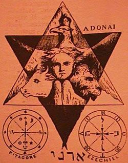 The upper triangle is the Eagle, the left is the bull, the right the lion and in the center, the face of Enoch or Aryan, the most sacred mythological symbol.