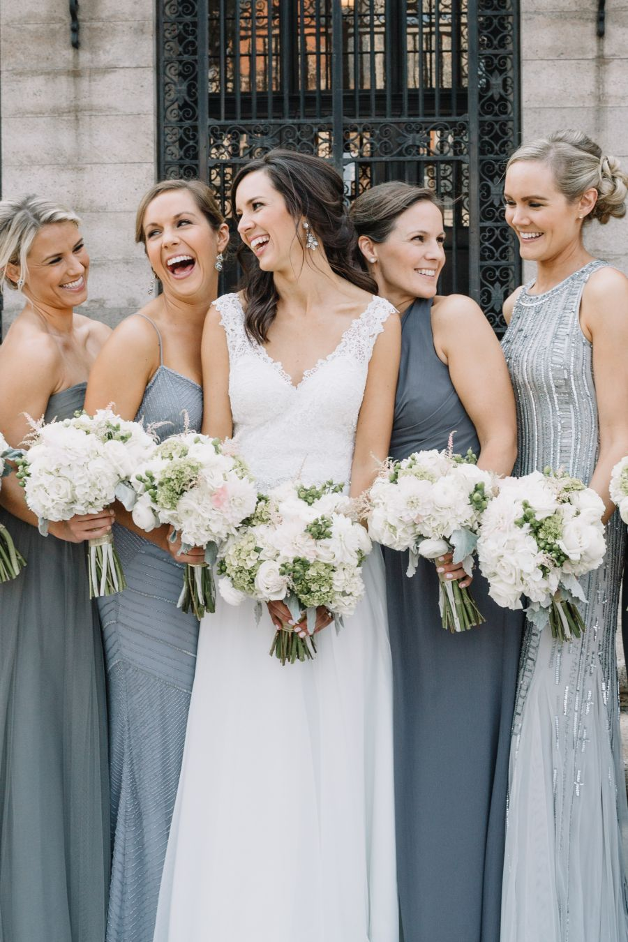 Mismatched Bridesmaids In Grey For A City Wedding Mismatched Bridesmaids Wedding Bridesmaid Dresses Bridesmaid Dresses