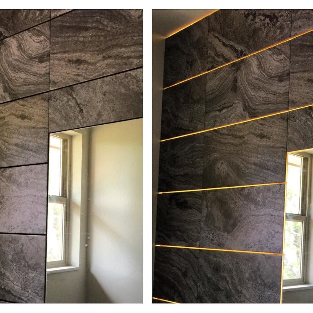 Tile wall with led grout lines.#art wall#tile#led#1/2 bath#ikea ...