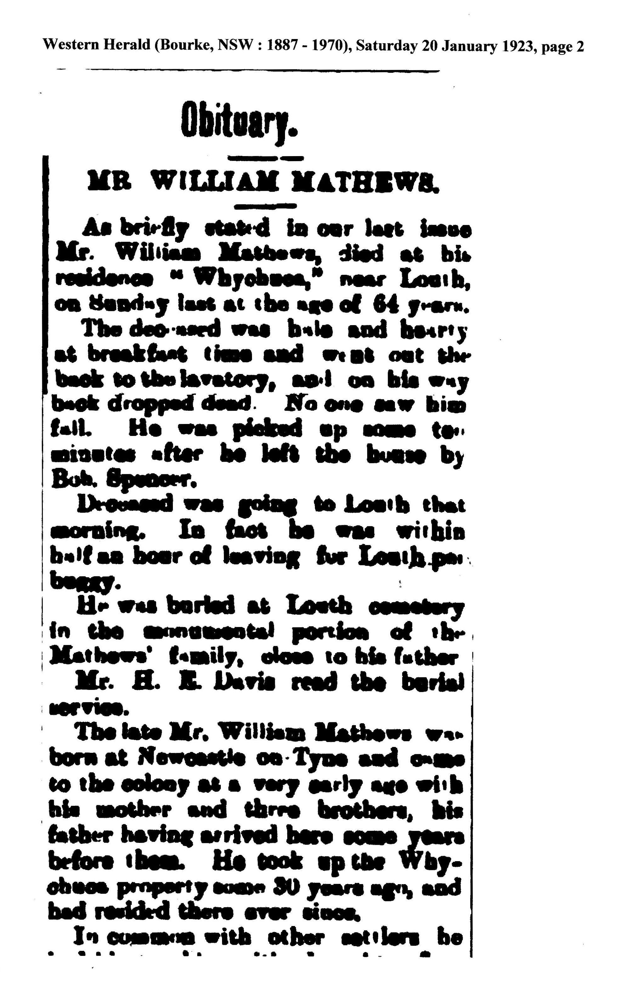 Death Will Mathews Louth, NSW. 1923, son Old T.A. Mathews