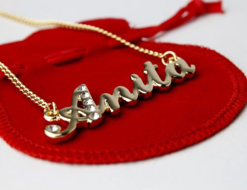 5244501f760ae Details about Indian Name Necklace 'A' Personalised Gifts - ANITA ...