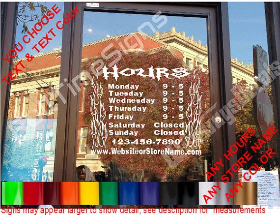 STORE HOURS CuStOm Window Decal Business Shop Storefront Door Sign - Custom window decal stickers