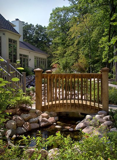Cool Ideas for Classic Styled House: Awesome Landscape With Pond And Wooden Bridge Private Custom Residence