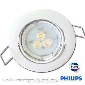 Super Spot Led Encastrable Blanc Led Philips 3.5W rendu 35W 36° 3000K GX-77