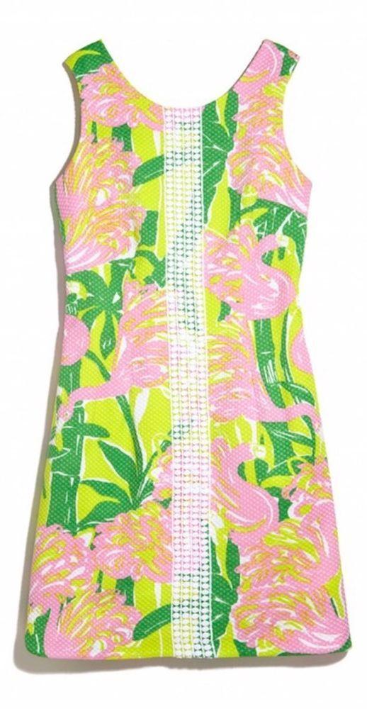 6498ed65c0566 LILLY PULITZER FOR TARGET Fan Dance Pink Flamingo WOMEN S SHIFT DRESS 14