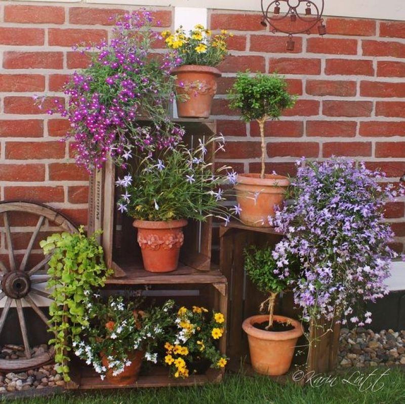 deko mit alten obstkisten flowers amp garden pinterest deko in home garten deko ideen herb