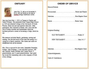 Ideas for Funeral Service Cards / Programs – Examples | Funeral ...