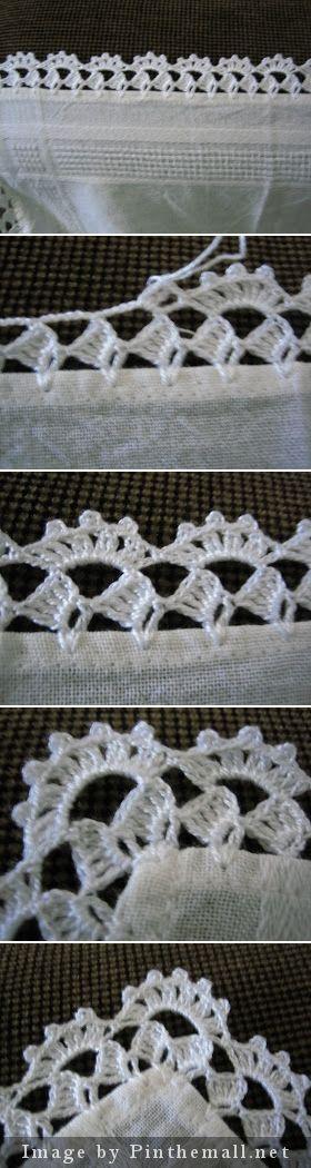 Crochet edging with corner ~~ http://filomena-crochet-tricot-costura.blogspot.com.ar/2009/05/bico-de-crochet.html