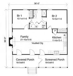 One Story Style House Plan 49124 With 2 Bed 1 Bath Cabin Floor Plans Small Cabin Plans House Plans