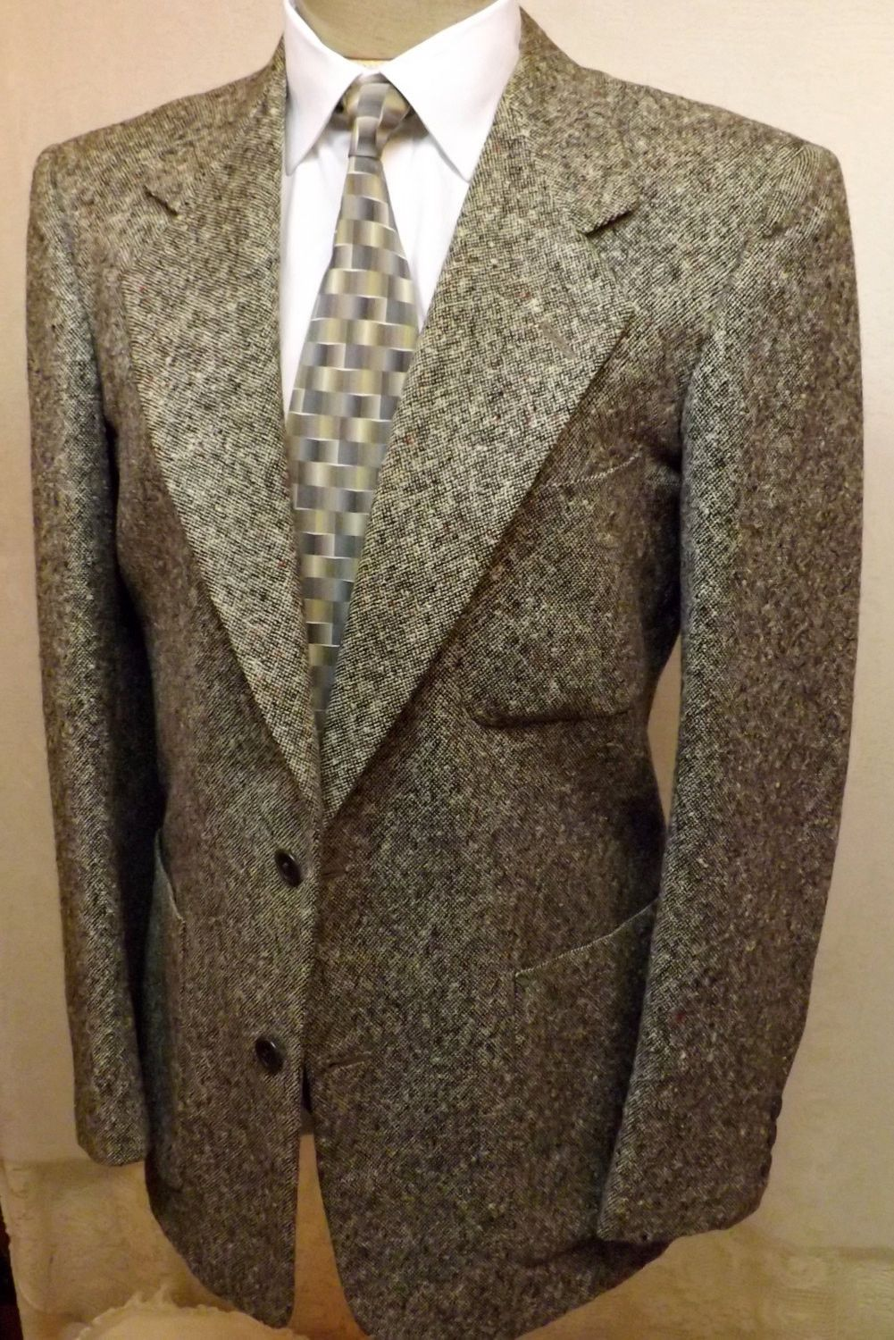 60s Mens or Boys Vintage Gray Chevoit Tweed Sport Coat Size 40R ...