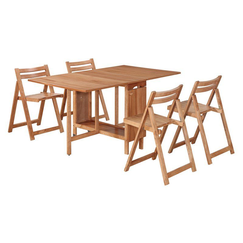 Awesome Linon Delany 5 Piece Space Saver Folding Dining Set With Self Storing  Chairs   Natural   Dining Table Sets At Hayneedle