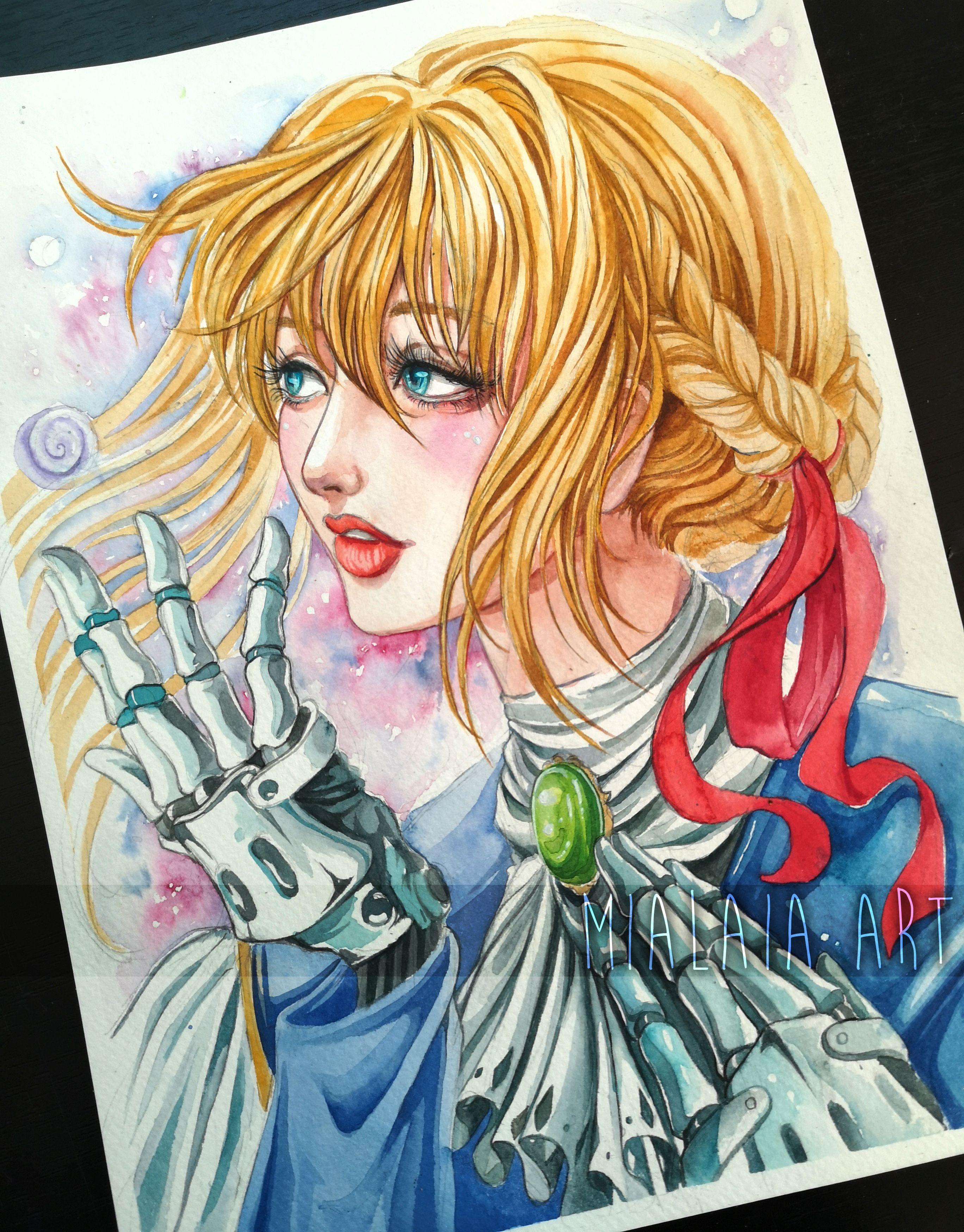Violet Evergarden watercolor fanart painting Anime Art