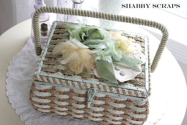 sewing basket with vintage buttons