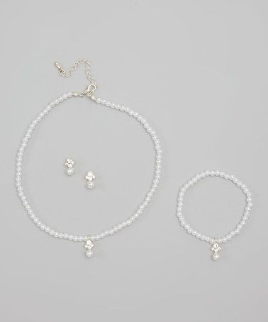 This White Faux Pearl Necklace Set is perfect! #zulilyfinds
