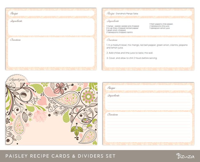 X Recipe Card Template  Paisley Recipe Cards And Divider Set