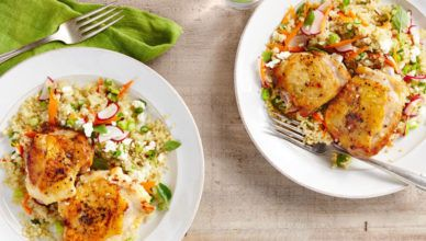 Pepper-and-Salt Chicken with Spring Quinoa Pilaf