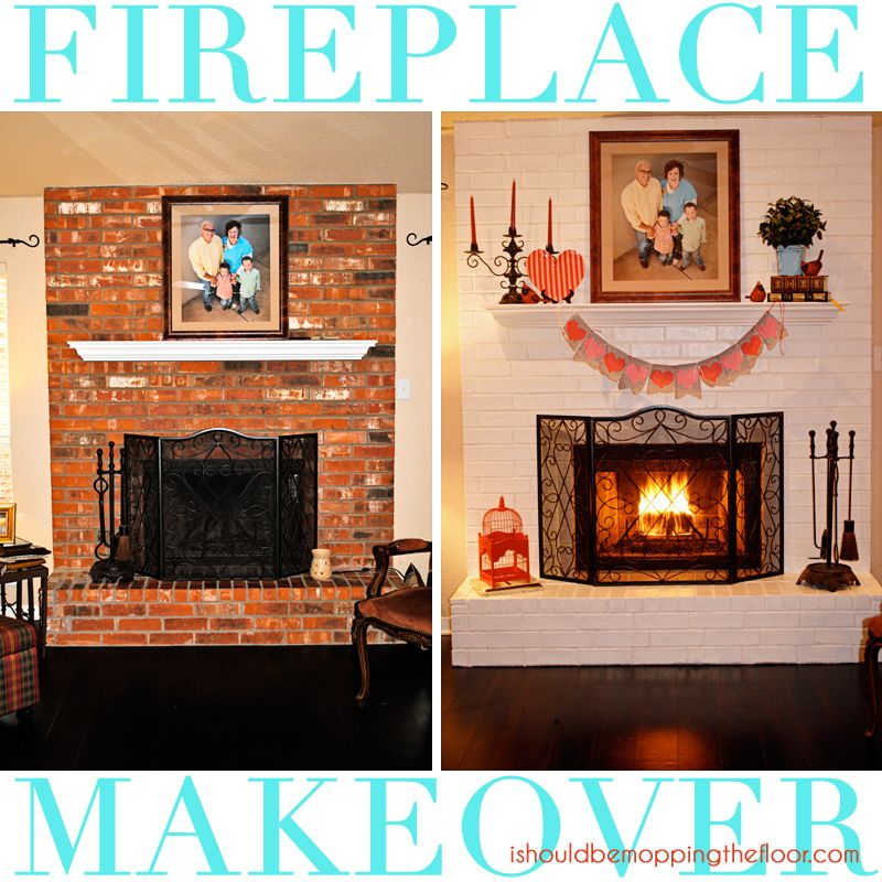 Fireplace Makeover {in a day!} Brick fireplace makeover