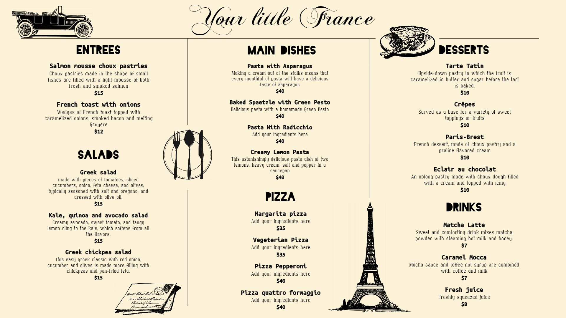 Pictures of French Bistro Menu Ideas